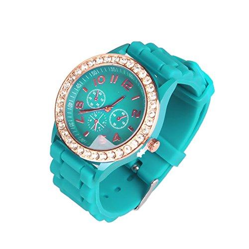 OFTEN Ladies Women Girl Silicone Quartz Crystal Stone Jelly Wrist Watch