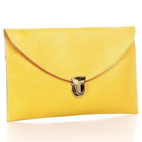 SODIAL(R) Gelb Frauen Handtasche Umschlag-Kupplungs-Ketten-Geldbeutel-Dame-Handbag Tote-Schulter-