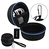 AIRSOFTPEAK Portable Carrying Case Travel Protective Hard Case Cover Small Handheld Storage Box with Carabiner for Echo Dot, USB Cable, Earphone