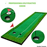 Paradise Treasures Golf Putting Green System Professional Practice Green Long Challenging Putter Indoor/Outdoor Golf Simulator Training Mat Aid Equipment Gift for Dad (2.6ftx10ft 2 Lane Green)