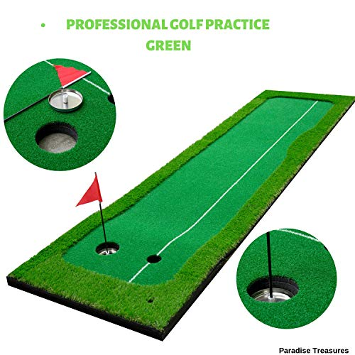 Paradise Treasures Golf Putting Green System Professional Practice Green Long Challenging Putter Indoor/Outdoor Golf Simulator Training Mat Aid Equipment Gift for Dad (2.6ftx10ft 2 Lane Green) by Paradise Treasures (Image #4)