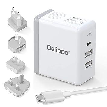 Delippo 65W USB C Cargador PD & QC 3.0 USB 3 en 1 Cargador ...