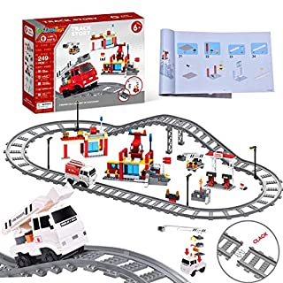 FUN LITTLE TOYS 249 Pcs City Building Blocks with Fire Station, Fire Trucks, Train Tracks, Party Favors for Kids, Educational STEM Toys Birthday Gifts for Boys & Girls
