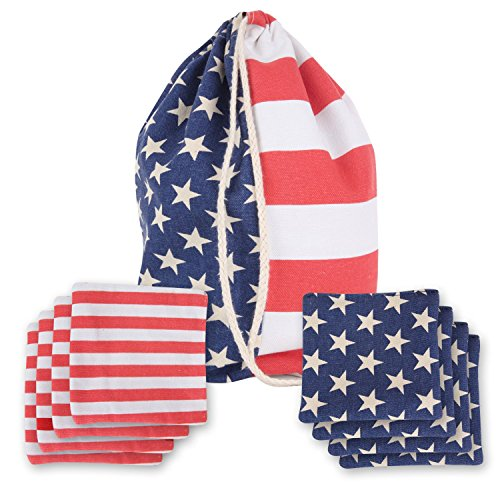 Stars Stripes - Cornhole Bean Bags Double Stitched Durable Corn Hole Bags Set Of 8 Regulation With Portable Tote Bag Official Bean Bags For Tossing Game Summer Endless Outdoor Fun, Stars and Stripes