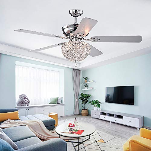52'' Crystal Ceiling Fan Chandelier With Light and Remote Control 5 Reversible Blades Metal Polished Light Fixture For Living Room Bedroom Decoration Chromn,Tropicalfan