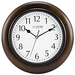 10 H Round Brown Solid Wood Analog Wall Clock