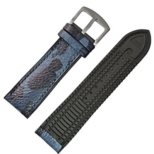 New 20mm 22mm Camouflage Genuine Leather Watch Strap Band Rubber Pad Buckle (22mm, (Blue Camo Fashion Watch)