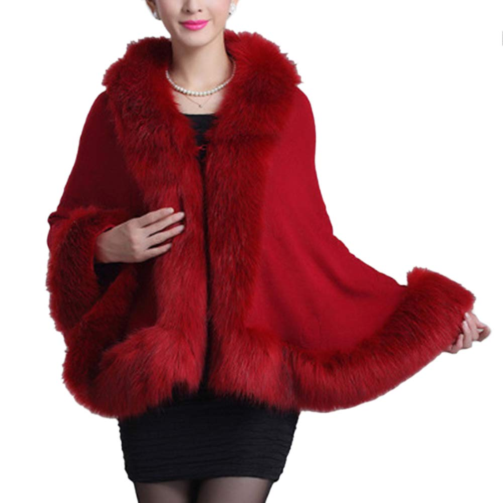 Forart Women's Warm Coat Faux Fur Shawl Wrap Stole Shrug Poncho Cover up Cape