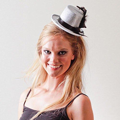 Jacobson Hat Company Women's Mini Glitter Top Hat Headband, Silver, Adult]()