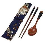 Elevin(TM)Portable Wooden Chopsticks Spoon Tableware Set Vintage + Blue Bag (B)
