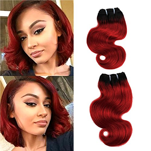 FASHION LINE 8 Human Hair Bundles Ombre Two Tone Brazilian Virgin Hair Extensions Body Wave (4 bundles, 1b/red)