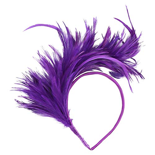Napoo--Hair Clip Vintage Colorful Feather Burlesque Headpiece Flapper Ostrich Fancy Headband for Party Prom (Purple)]()