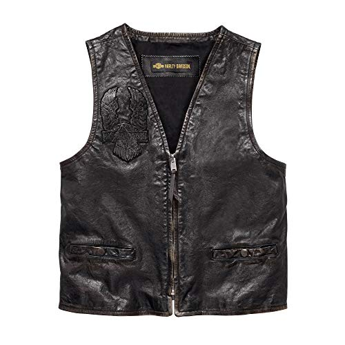 Harley-Davidson Official Men's Iron Distressed Slim Fit Leather Vest, Black (Medium) ()