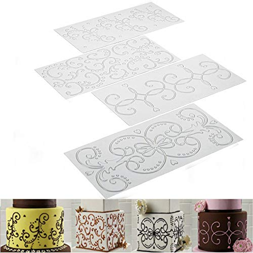 (Hot Sale!DEESEE(TM)4pcs Grid Transparent Stencil Texture Mat Cake Border Decorating Tool Cake Mold (B))