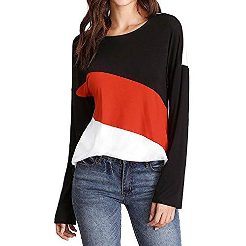Larga En De Camisa La Manga cuello Malloom Y Tops V Contraste Cuello Con Rojo Diagonal Impreso Suelto Casual Mujer Blusa Camiseta YxBq5wAt