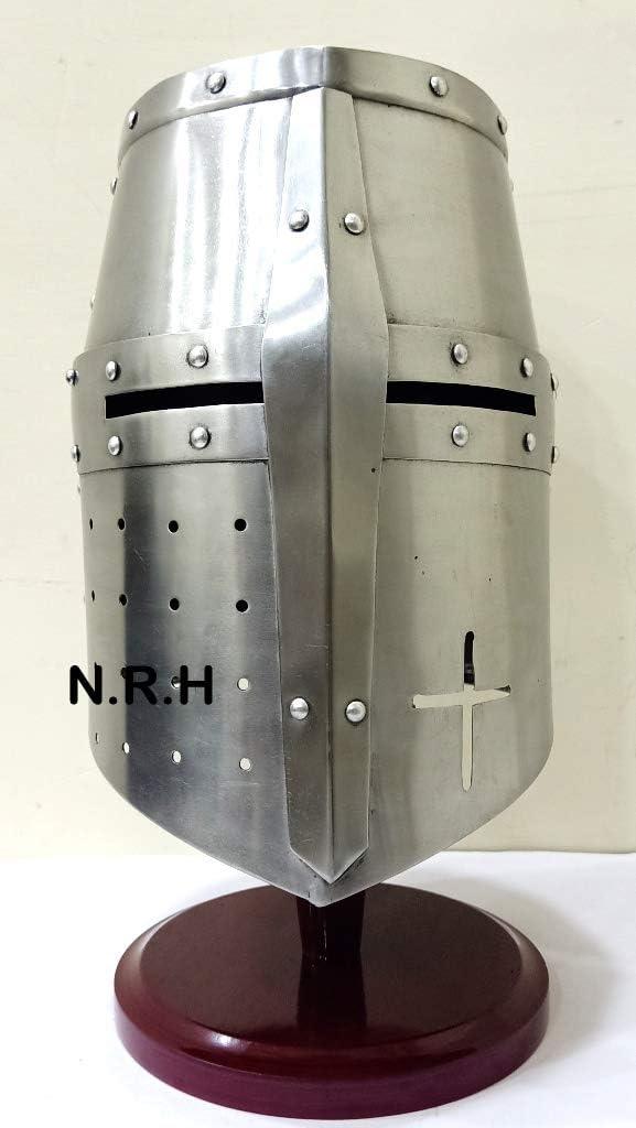 Tempelritter Mittelalterlicher Kreuzritter Helm auf St/änder Nautische Replik Hub R/üstung