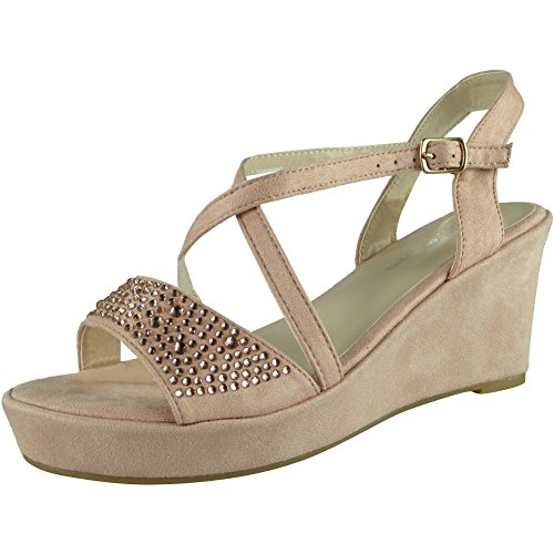 8 Sandals Wedge Look Party Peeptoe Loud Sequins Ladies Platform 3 Sizes Pink Womens Shoes Wedding BwvqSxa