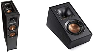 Klipsch R-625FA Powerful Detailed Floorstanding Single Home Speaker Black Bundle with Klipsch R-41SA Powerful Detailed Home Speaker Set of 2 Black