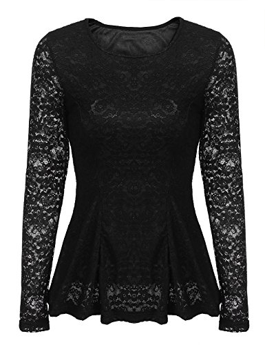 Women's Comfy Long Sleeve Floral Lace Casual T-Shirt Top, Black, X-Large ()