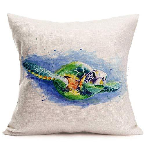 (RS-pthrAB Watercolor Marine Animal Sea Turtle Cotton Linen Decorative Throw Pillow Case Cushion Cover Square Pillowcase Home Office 18''x18'' (Sea Turtle A))