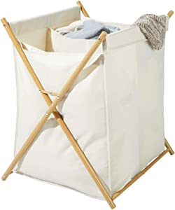 mDesign Sturdy Cloth Laundry Divided Hamper Sorter Cart - Portable and Collapsible Folding Clothes Basket Storage, Removable Polyester Liner Fabric Bag - Strong Metal X Frame - Cream/Natural Finish