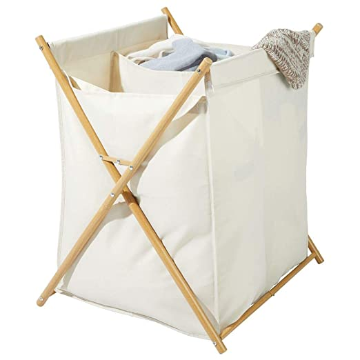 mDesign Cesto plegable para ropa sucia – Bolsa para la colada con 2 compartimentos – Mueble con cesto para ropa sucia extraíble – Organizador de baño ...