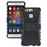 Heartly Flip Kick Stand Spider Hard Dual Rugged Shock Proof Tough Hybrid Armor Bumper Back Case Cover For Huawei Ascend P9 - Rugged Black