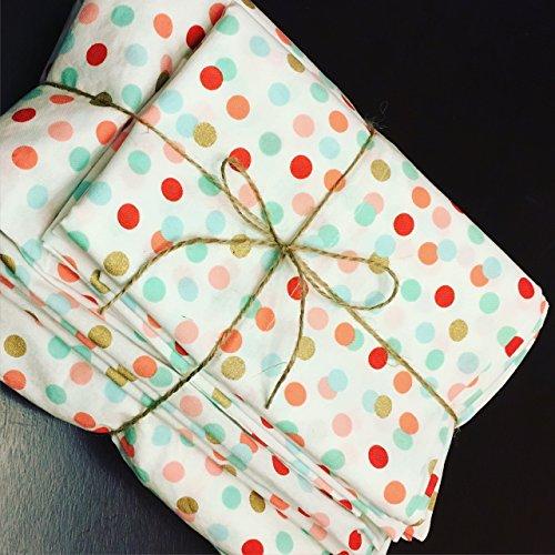 Crib or toddler bedding - Coral, mint, and gold polka dot sheets