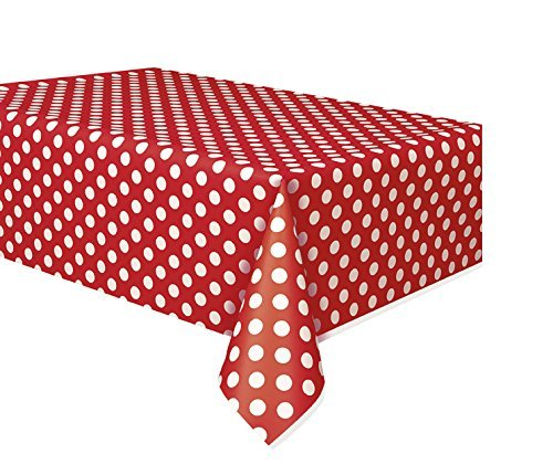 2 Pack Polka Dot Plastic Tablecloth, 108 x 54, Red with White dots]()