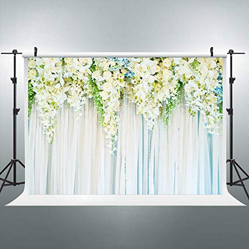 Riyidecor Bridal Floral Wall Backdrop Yarn Wall Photography Background White and Blue Flowers and Green Leaves 8X6ft Decoration Wedding Props Party Photo Shoot Backdrop Vinyl Cloth