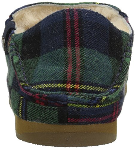 206 Collectif Bower Pliable Retour Shearling Mocassin Pantoufle Vert Plaid Textile