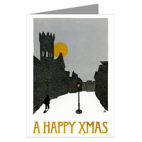 Abstract Christmas Vintage Victorian Block Print Greeting Card Set - John Abstract Print