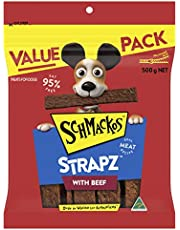 Schmackos Strapz Beef Flavour Dog Treats 2kg Value Pack, (4 x 500g Bags)