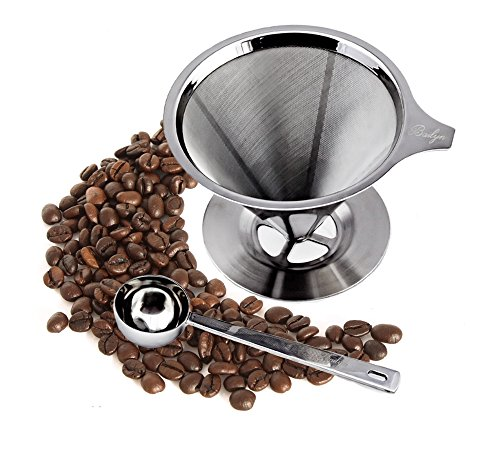 Bailyn 304 Stainless Steel Pour Over Coffee filter with coffee scoop, 18/8 double mesh permanent reusable coffee dripper and brewer with stand handle for 1-4 cups coffee maker