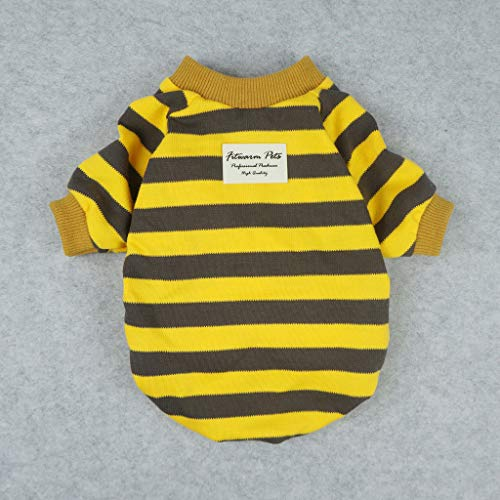 Fitwarm Striped Pet Clothes for Dog T-Shirts Pullover Cat Shirts Cotton Yellow Medium