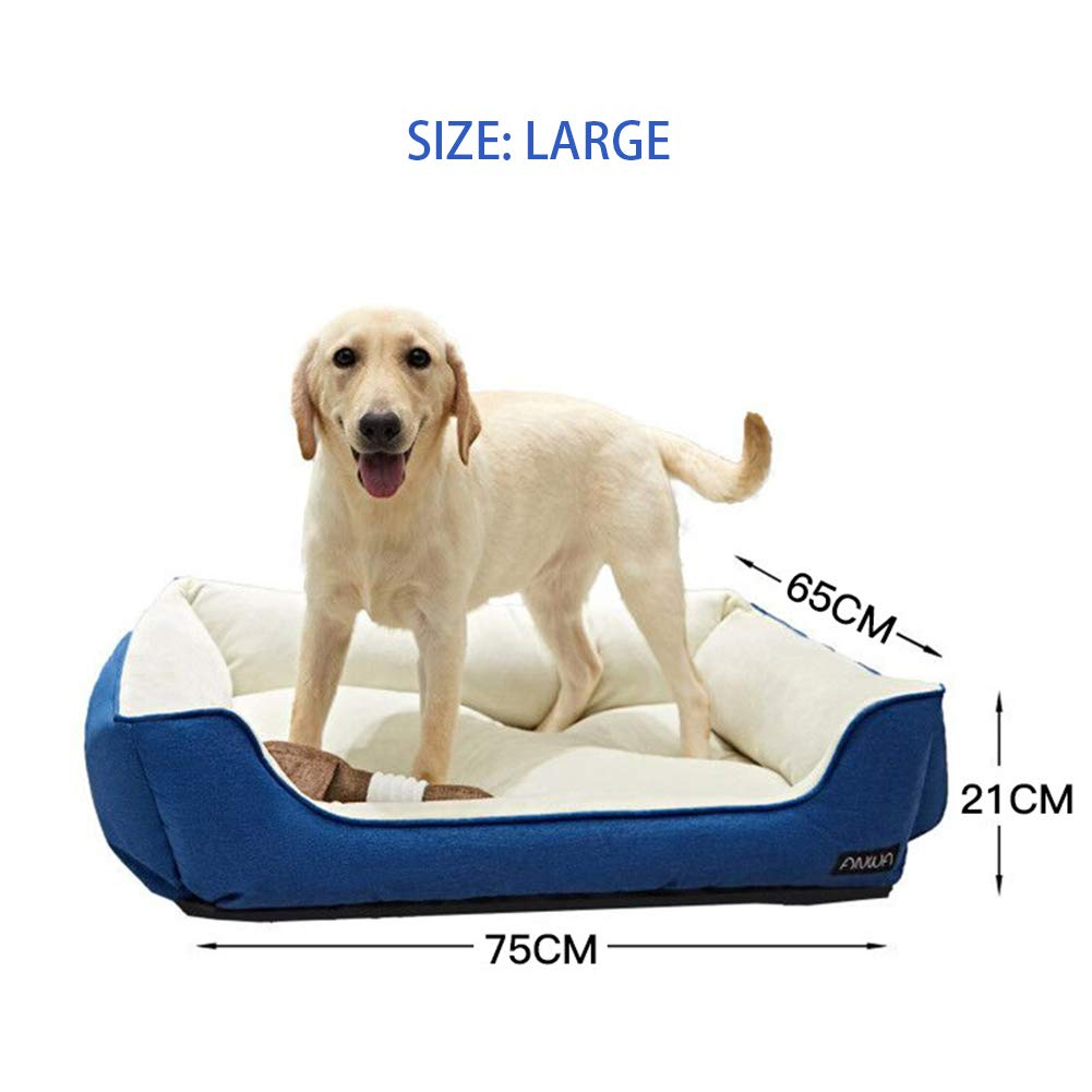 S Pet Bed Dark bluee Warm Winter Luxury Rectangular Waterproof Antimold Wearresistant Washable Kennel