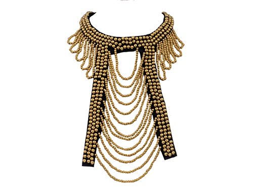 Alilang Tribal Ethnic Bohemian Golden Beaded Bib Collar Statement Necklace for Women ()