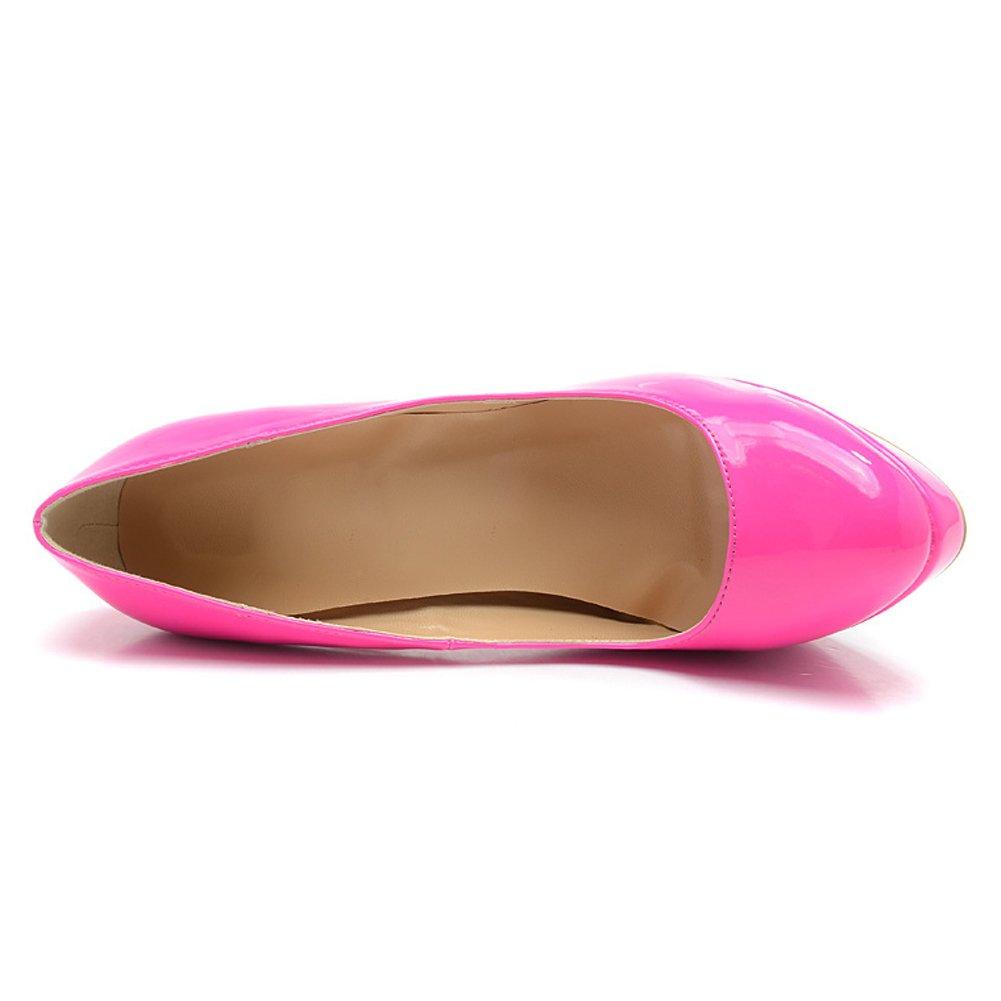 Damen Pumps Lackleder High-Heels Pink Stiletto mit Plateau Rutsch Pink High-Heels 123455