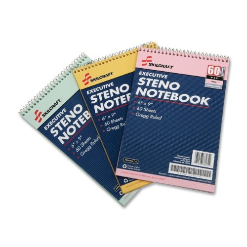 SKILCRAFT 7530-01-454-5702 3 Piece ECF Recycled Steno Pad Pack, 6 x 9 Inch, Assorted Color by Skilcraft