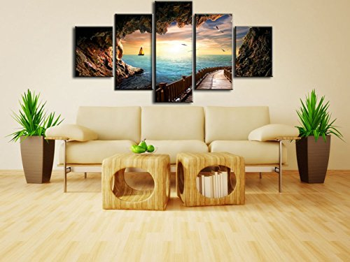 Sunset Seagulls Landscape Picture Wooden Dock Bridge Pier Enchanted Modern Painting on Canvas 5 Piece Framed wall art for Living Room Home Deco Stretched Gallery Wrap Giclee Print(60''W x ()