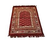 Luxury Velvet Daisy Pattern Islamic Prayer Rug Janamaz Sajjadah Muslim Turkish Prayer Rug (Red)