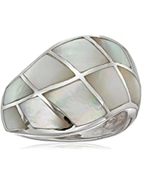 Sterling Silver Mother of Pearl Crazy Inlay Squares Ring