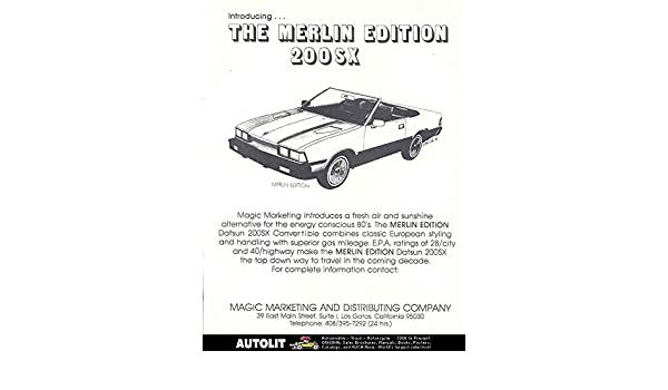 Amazon.com: 1980 Datsun 200SX Merlin Convertible Brochure: Entertainment Collectibles