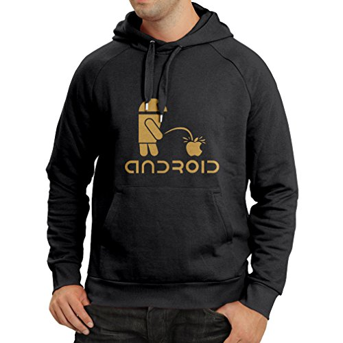 Hoodie The Funny Robot and The Apple - Geek Humorous Gifts (Small Black Gold)