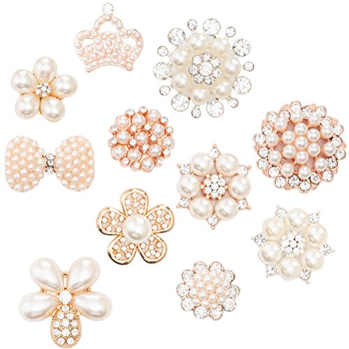 22Pcs Crystal Rhinestones Pearl Buttons, Rhinestone Flower Embellishments Button Flatback Pearl Beads DIY for Jewelry Making, Wedding DIY Supplies, Clothes, Bags, Shoes and Sew Craft Projects ()
