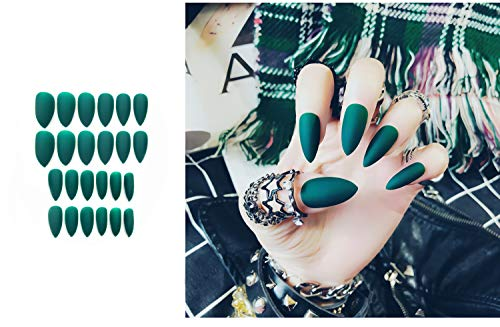 Green Halloween Nails (Almond Fake Nails 24 Pcs Solid Green Colors Full Cover Medium Matte Press on Stiletto Shape Artificial False Nails Art Tips)