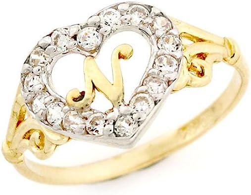 14ct oro en forma de corazón de la letra n CZ anillo con iniciales: Amazon.es: Joyería