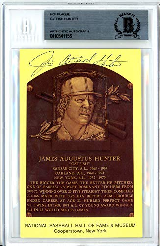 Jim Catfish Hunter Autographed Signed Auto HOF Plaque Postcard Yankees, A's Beckett Certified