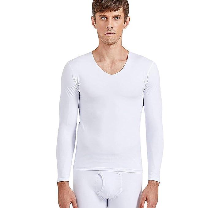765e0db34 Mujer Top Térmico Cuello En V Camisetas De Manga Larga Lindo Chic Color  Sólido Elástico Slim