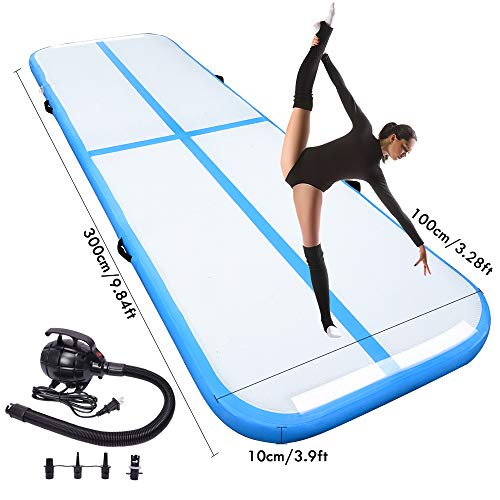 10FT Air Track Tumbling Mat for Gymnastics Inflatable Airtrack with Electric Air Pump for Training Home Use Pool Park and Cheerleading
